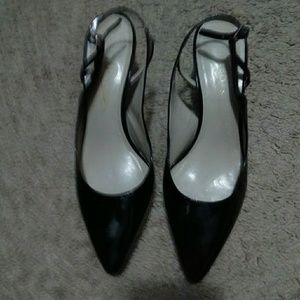 Talbot's Kitten Heel Black Patent Slingbacks.